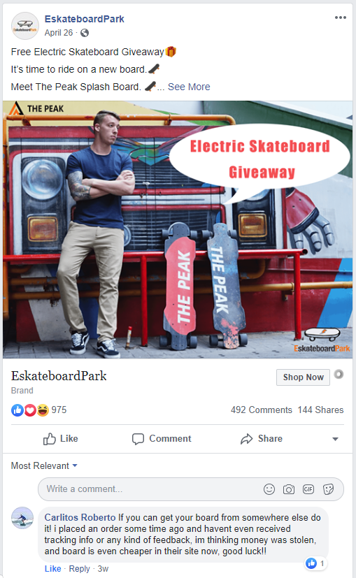 eskateboardpark.com - Facebook message - nothing received, money is gone.