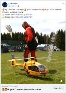 Facebook scam: ADAC RC model helicopter