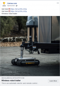 Facebook scam: Wireless Robot Trailer