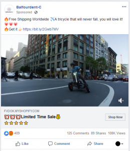 Facebook Scam Ad: mcvwe - all-electric-tilting-bike