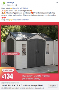 Facebook Scam: outdoor storage shed